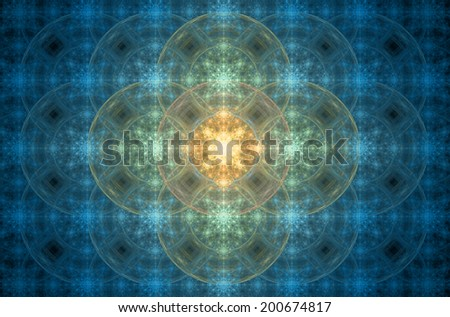 Blue abstract geometric grid background with a central star in yellow and orange colors and a detailed circular pattern with flower-like decoration against black color