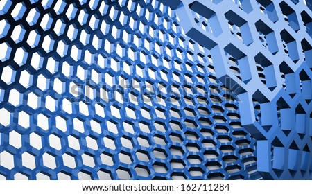 Blue abstract hexagonal mesh background