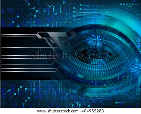 Blue abstract hi speed internet technology background illustration. eye scan virus computer.