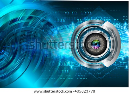 Blue abstract hi speed internet technology background illustration. eye scan virus computer