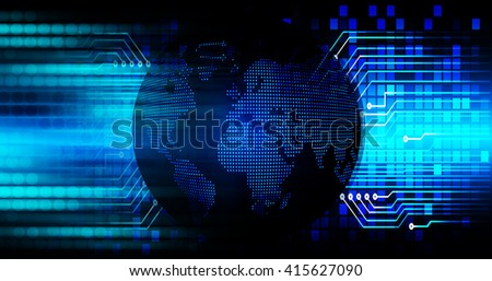 Blue abstract hi speed internet technology background illustration. eye scan virus computer. motion move. world map