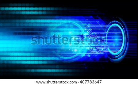Blue abstract hi speed internet technology background illustration. eye scan virus computer. move motion