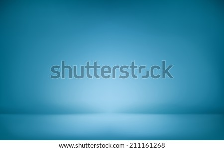 blue abstract illustration background texture of gradient wall and flat floor in empty spacious room interior - stock photo