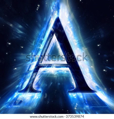Blue Abstract Letter A - stock photo
