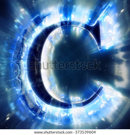 Blue Abstract Letter C - stock photo