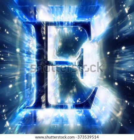 Blue Abstract Letter E - stock photo