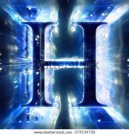 Blue Abstract Letter H - stock photo