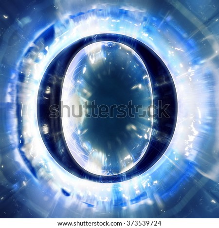 Blue Abstract Letter O - stock photo
