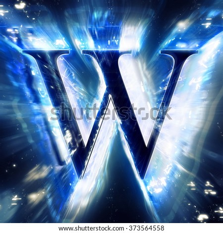 Blue Abstract Letter W - stock photo