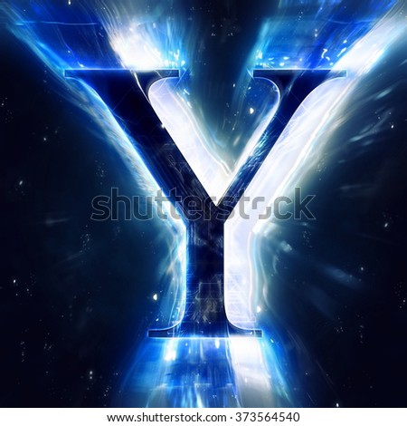 Blue Abstract Letter Y - stock photo