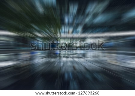 Blue abstract motion speed blur - stock photo