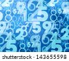 blue abstract numbers background - stock photo