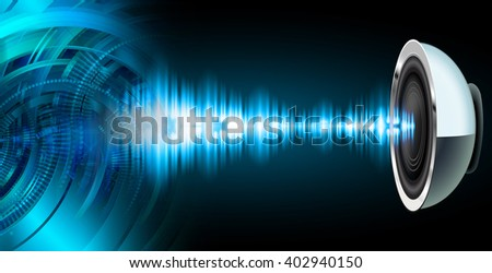 Blue abstract Sound wave hi speed internet technology background illustration. eye scan virus computer