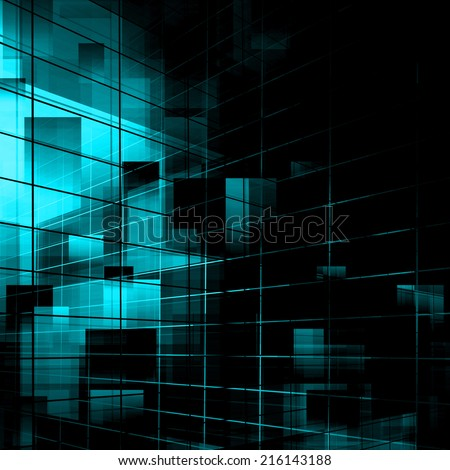 Blue Abstract Technology Background - stock photo