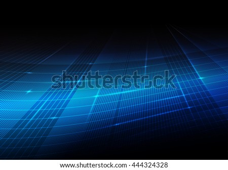 Blue abstract technology background with network and binary data transfer concept