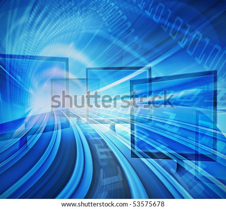 Blue abstract technology conceptual background image, information highway and high speed data transfer with computer displays .Computer generated illustration.