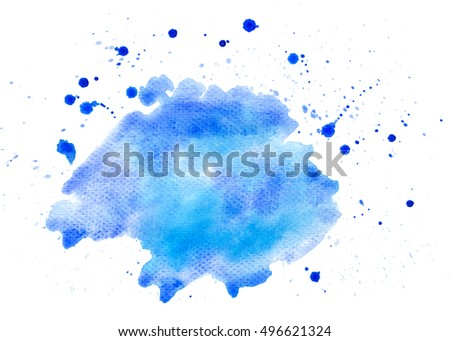 Blue abstract water color brush stoke background texture
