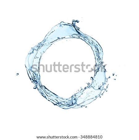 blue abstract water splash in circle shape, isolated on white background