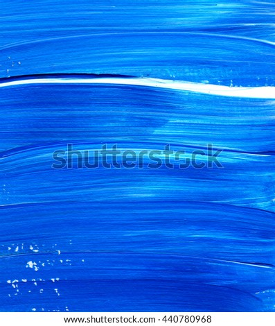 Blue Acrylic brush stroke background, texture. Grunge paper. Ocean water or sky, maritime theme backdrop for scrapbook elements with space for text.