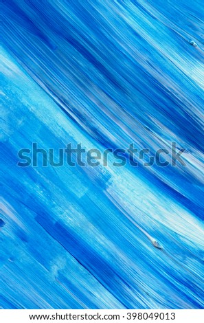 Blue acrylic paint stain isolated on white background. Dynamic Brush Stroke. Art Abstract