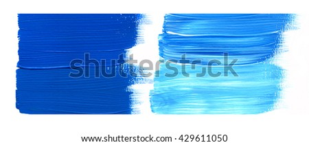 Blue acrylic paint stain isolated on white background. Dynamic Brush Stroke. Art Abstract Space for Text - stock photo