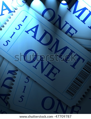 blue admit one ticket collection with some shaded areas - stock photo