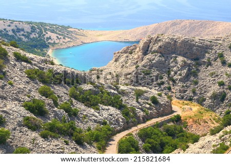 Blue Adriatic sea on the side of the mountains, Croatia - stock photo