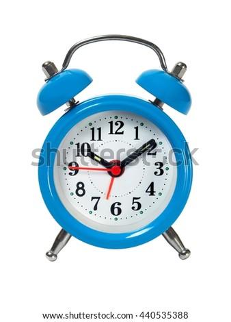 Blue alarm clock isolated on white background - stock photo
