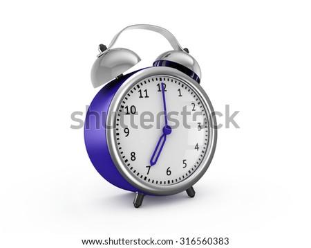 Blue alarm clock shows seven hours. 3d render isolated on white background