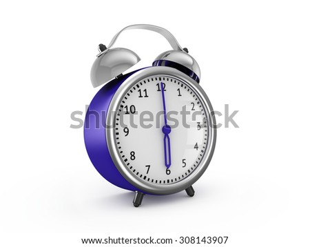 Blue alarm clock shows six hours. 3d render isolated on white background