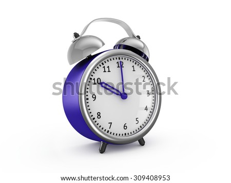Blue alarm clock shows ten hours. 3d render isolated on white background