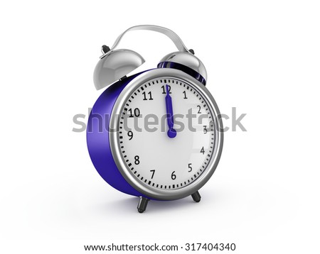 Blue alarm clock shows twelve o'clock. 3d render isolated on white background - stock photo