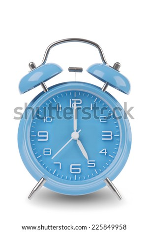 Blue alarm clock with the hands at 5 am or pm isolated on a white background, One of a set of 12 images showing the top of the hour starting with 1 am / pm and going through all 12 hours - stock photo