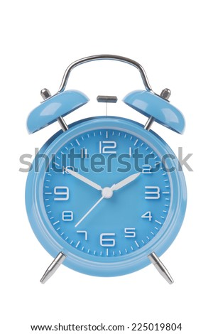 Blue alarm clock with the hands at 10 and 2 isolated on a white background - stock photo
