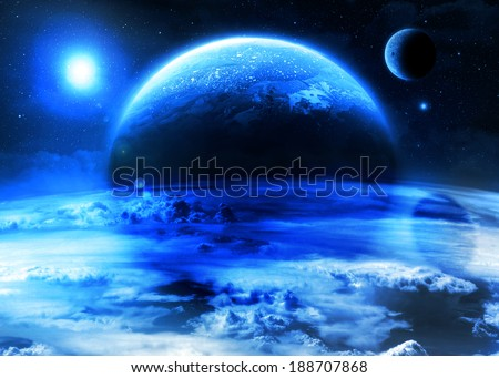 Blue Alien World - Elements of this image furnished by NASA - stock photo