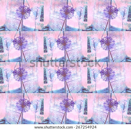 Blue allium flower reflected in a window pane. Floral background. Old texture. Interior decor. Used for textile, for wallpaper, pattern fills, web page background, wrapping paper. - stock photo