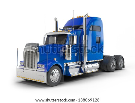 Blue american truck isolated on white background - stock photo