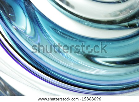 blue and aqua blown glass abstract