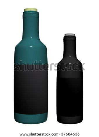 Blue and black bottles over white background. Isolated illustration