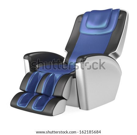Blue and black comfortable massage chair - stock photo