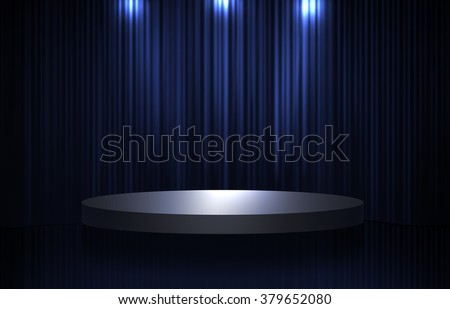 Blue and black curtain and round stage in the dark with spotlight and shiny effect - stock photo