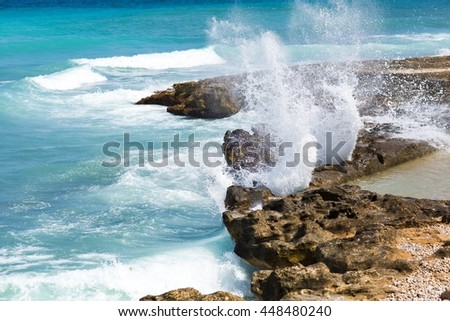 Blue and clear water in mediterranean coast - stock photo