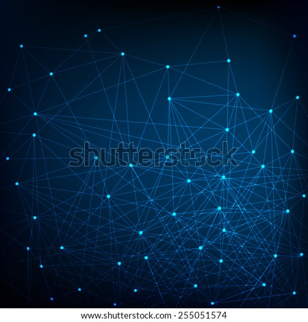 Blue and dark Network Background - stock photo