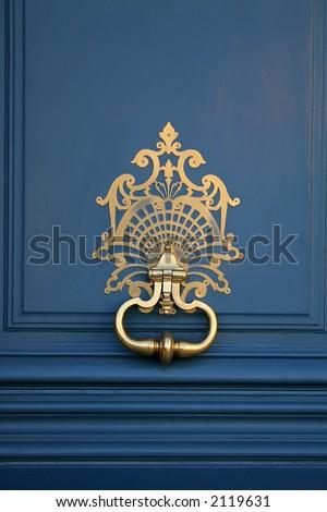 blue and door gold knocker - stock photo