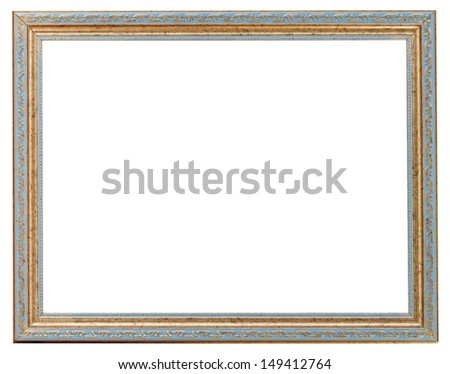 blue and gold ancient narrow picture frame with cutout canvas isolated on white background - stock photo