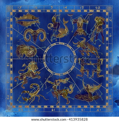 Blue and gold collage set with zodiac symbols and constellations in frame. Line art with hand drawn horoscope signs in grunge style. Vintage mystic and astrology illustration with texture background - stock photo