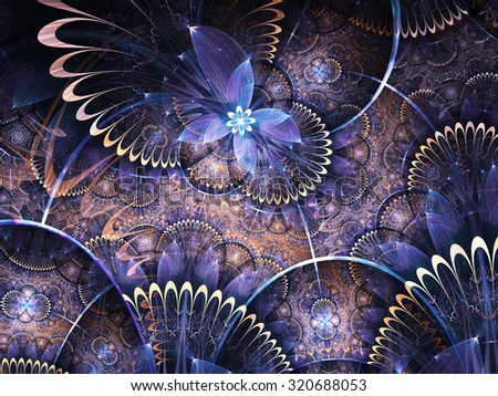 Blue and gold fractal flowers, digital artwork for creative graphic design