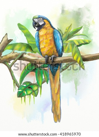 Blue and gold macaw with some tropical vegetation. Original digital watercolor. - stock photo
