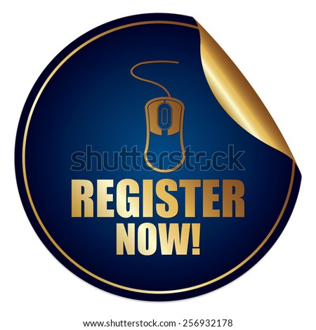 Blue and Gold Metallic Register Now! Sticker, Icon or Label Isolated on White Background  - stock photo