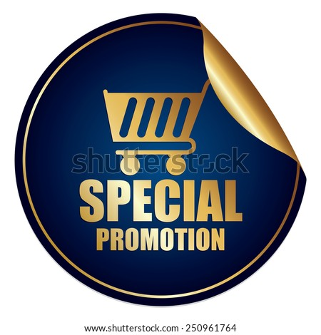 Blue and Gold Metallic Special Promotion Sticker, Icon or Label Isolated on White Background  - stock photo